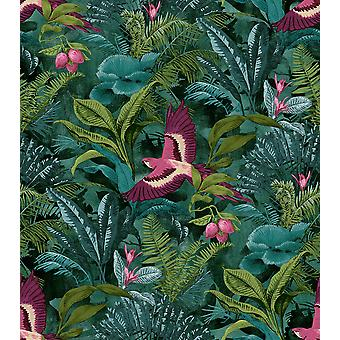 Rasch Tropical Rainforest Fondo Botánico Floral Aves Selva Teal Verde