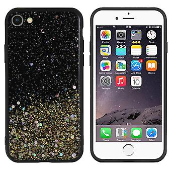 Bakstycket gnista glitter TPU + PC för Apple iPhone 8/7 guld