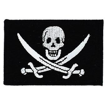 Patch Ecusson Brode Drapeau Pirate Jack Rackham Tete De Mort  Thermocollant