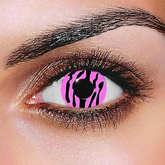 Pink Zebra Contact Lenses