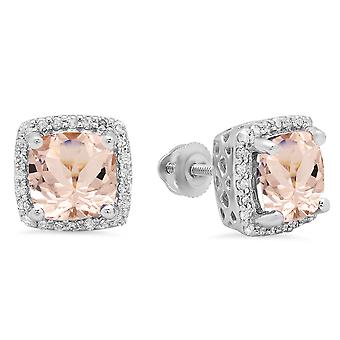 Dazzlingrock Collection 10K 7 MM Each Cushion Morganite & Round Diamond Ladies Square Frame Halo Stud Earrings, White Gold