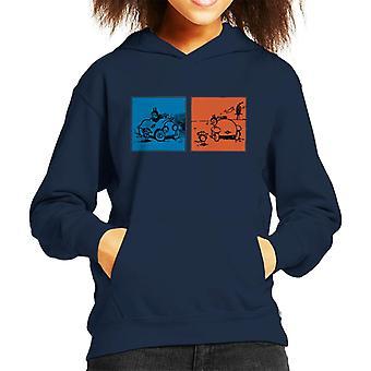 Krazy Kat Blue Orange Panel Kid's Hooded Sweatshirt