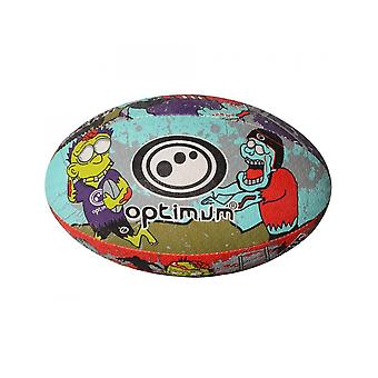 Optimum Sport Hand Stitched Rubber Zombie Print Rugby Ball - Mini