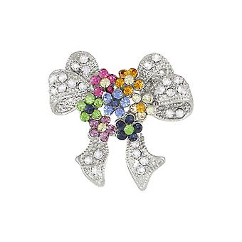 Eternal Collection Springtime Multicoloured Crystal Silver Tone Bow Brooch