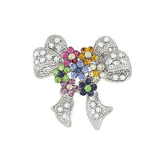 Eternal Collection Primavera Multicolore Cristallo Argento Tono Bow Brooch
