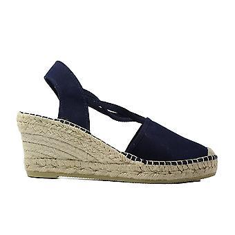 La Maison De L'Espadrille 650 Navy Fabric Womens Wedge Pull On Espadrille Shoes
