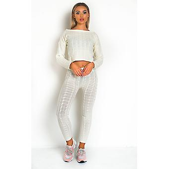 IKRUSH Womens Mika Cable Knit Lounge Co-ord