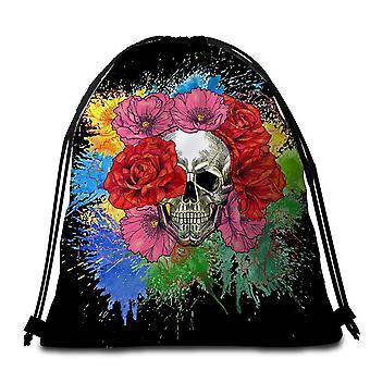Colorful Flowers Skull Beach Towel