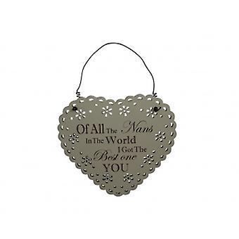 Beste Nan Spitze Herz Plaque   Geschenke von Hand gepflückt