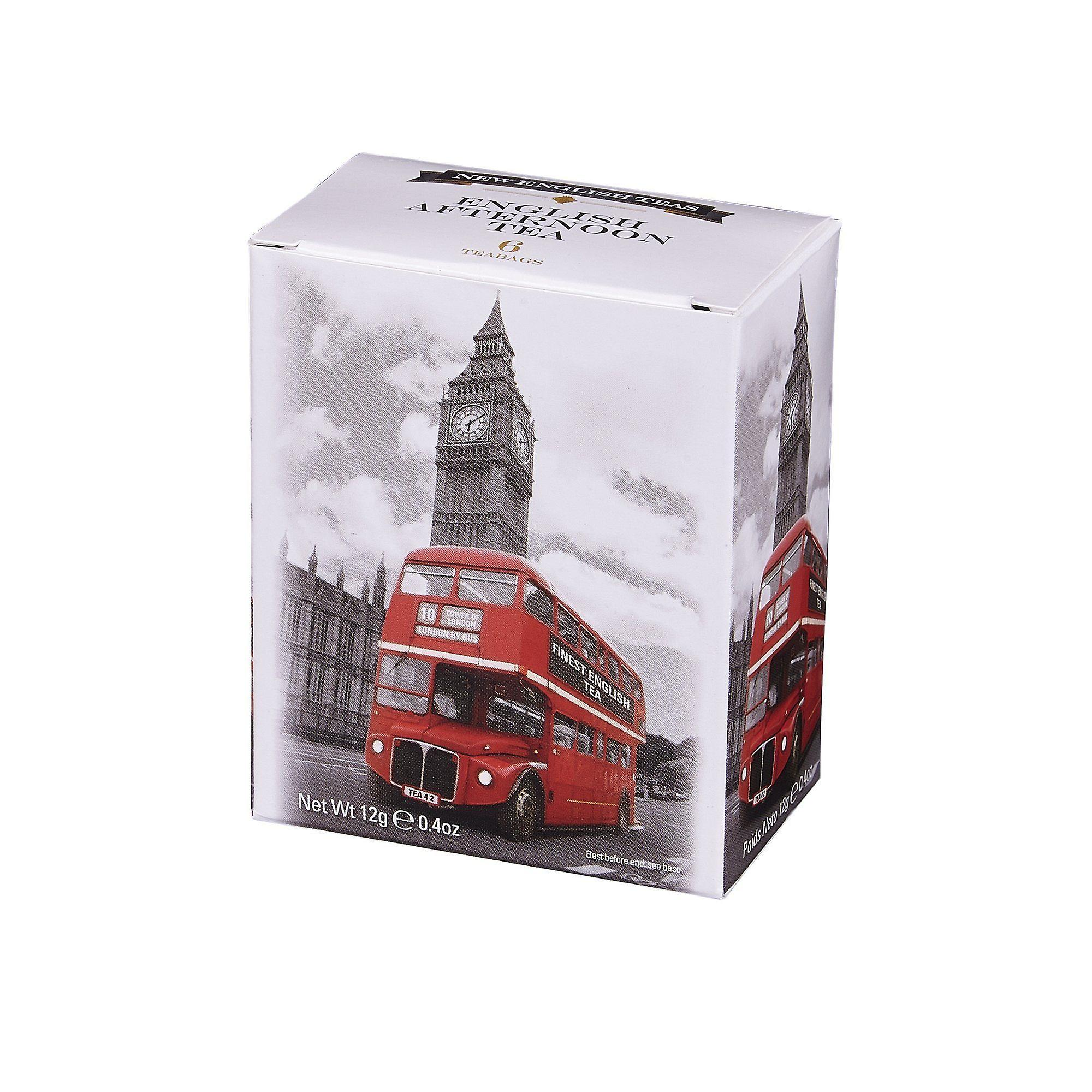 Black and white red bus afternoon tea 6 teabag carton