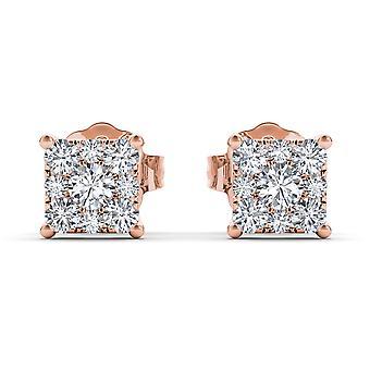 Igi certifierade 10k roséguld 0,50 ct naturliga diamant örhängen