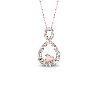 Igi certified 10k rose gold 0.15ct tdw diamond infinity & heart necklace