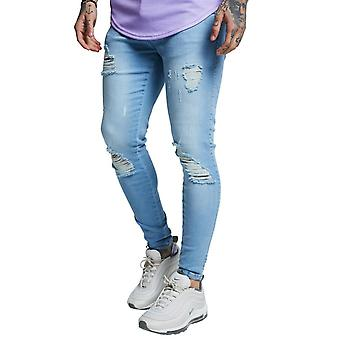New SikSilk Men's Distressed Jeans Light Blue