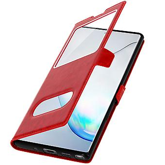 Double window flip standing case Samsung Galaxy Note 10 Plus, TPU shell - Red