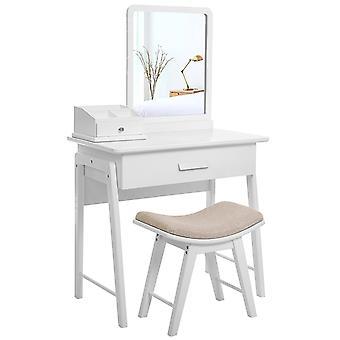 Tavolo da toeletta compatto con specchio e sgabello