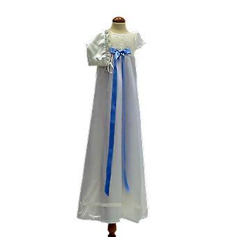 Dopklänning Och Dophätta I Off White, Blå Rosett. Grace Of Sweden