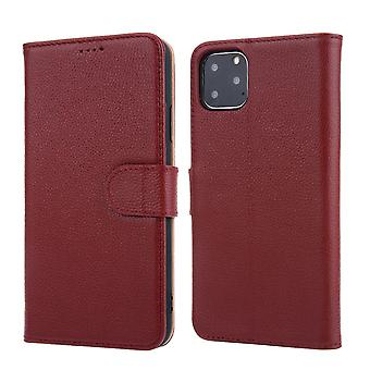 For iPhone 11 Pro Max Case Genuine Leather Wallet Protective Cover Wine Red