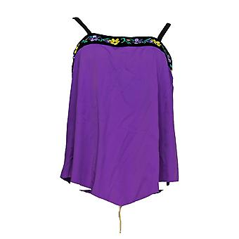 Fit 4 U Swimsuit Embroidered Bandeau Tankini Top Purple A350541
