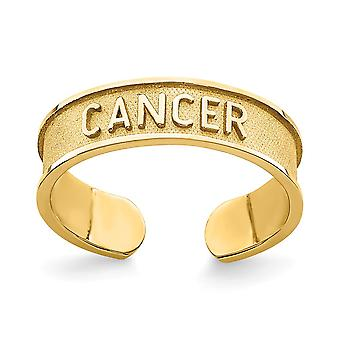 14k Brushed and Polished Zodiac Cancer Toe Ring Jewelry Gifts for Women - 1.1 Grams