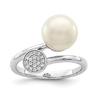 925 Sterling Silber Rhodium poliert poliert mit CZ Zirkonia simuliert Diamant und Acryl Perle Ring Schmuck Geschenk