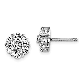 925 plata esterlina Rhodium plateado CZ Cubic Zirconia simulado aro de diamantes largo colgante colgante pendientes regalos de joyería para