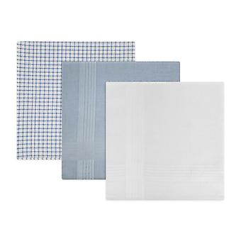 Mens/Gentlemens Handkerchiefs Assorted Check & Dyed Blue White 100% Cotton, Gift Boxed