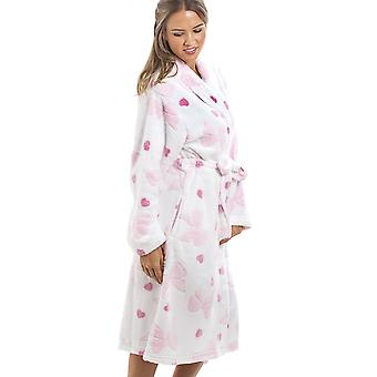 Camille White Supersoft Fleece Pink Heart And Bow Print Bathrobe