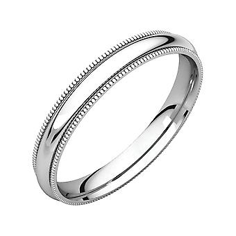 14k White Gold 3mm Milgrain Comfort Fit Band Ring Jewelry Gifts for Women - Ring Size:  to 12.5