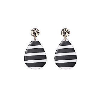 Monochrome Stripe Tear Drop Earrings