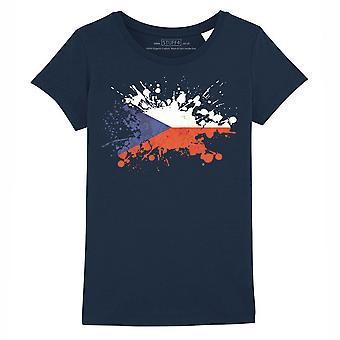 STUFF4 Girl's Round Neck T-Shirt/Czech Flag Splat/Navy Blue