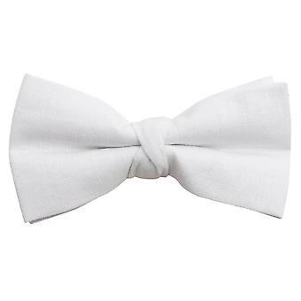 Dobell Mens White Linen Bow Tie Pre-Tied