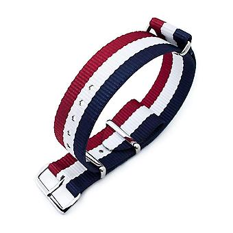 Strapcode n.a.t.o klokke stropp miltat 20mm, 21mm, 22mm eller 24mm g10 nato bullet tail watch strap, ballistisk nylon, polert - fransk utgave