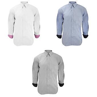 Kustom Kit Mens Long Sleeve Contrast Premium Oxford Shirt