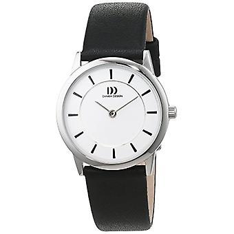 Women's watch Quartz Black Leather strap analog display and Danish Design White Dial 3324588