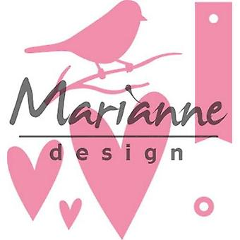 Marianne Design Collectables Cutting Dies - Giftwrapping Karin's Bird, Hearts & Tag COL1443