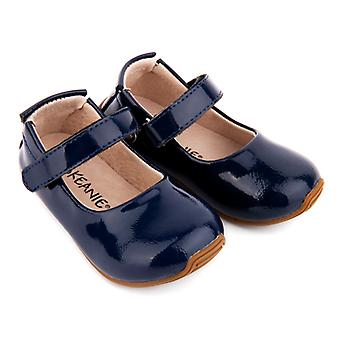 SKEANIE Toddler and Kids Leather Mary-Jane Shoes in Patent Navy Blue