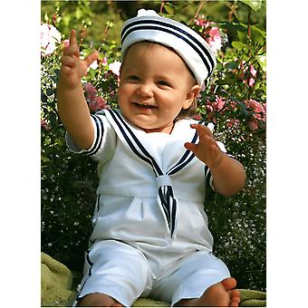 Baptism Suite From Grace Of Sweden - White Sailor Suite With Sailor Hat
