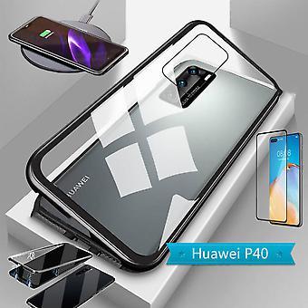 Huawei P40 magneetti / metalli / lasi laukku tapauksessa musta / läpinäkyvä + 4D täysi karkaistu kaareva H9 kova lasi