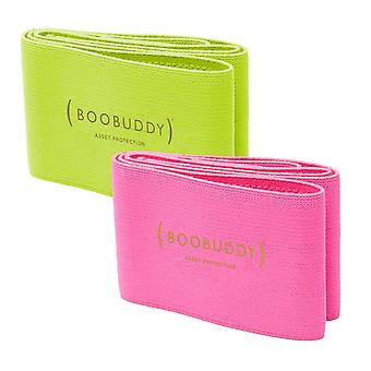 Boobuddy breast support band bundle – green & pink