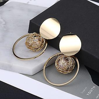 Gold Encapsulated Pearl Earrings