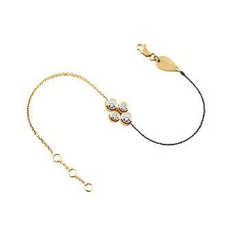 Bracelet Quatuor 18K Gold and Diamonds, Half Thread - Half Chain - Yellow Gold, Grey Pearl