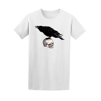 Crow Sits On The Skull Vintage Tee Men's -Image by Shutterstock