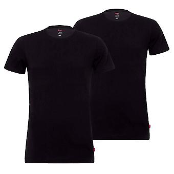 Levi & apos;s Mens Solid Stretch Cotton Crew 2 Pack T-Shirts - Jet Black