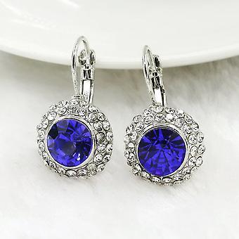 14K bleu saphir d'or blanc sur lunette d'or blanc ensemble boucles d'oreilles cristaux iobi pour femme