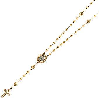 14k Geel Goud CZ Kubieke Zirconia Gesimuleerde Diamond 3mm Celestial Moon Ball Rozenkrans ketting sieraden geschenken voor vrouwen
