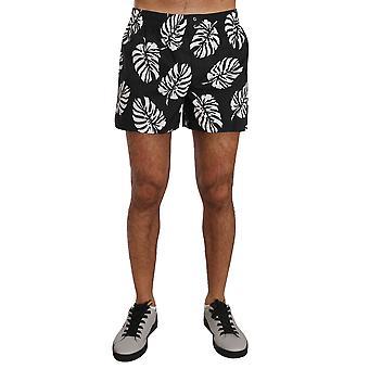Black White Leaves Print Pajama Sleepwear