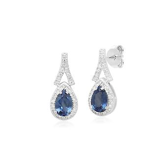 Pendientes colgantes de diamantes y zafiro azul lágrima en oro blanco de 9 qt 162E0134019
