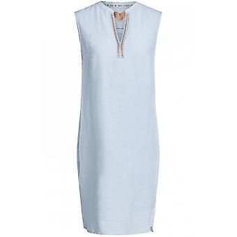 Oui Light Blue Linen Dress