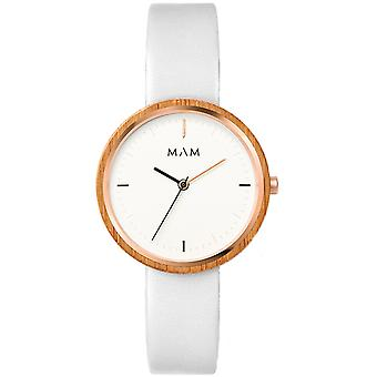 Mam Watches Flat Watch for Japanese Quartz Analog Woman with Cowskin Bracelet 667