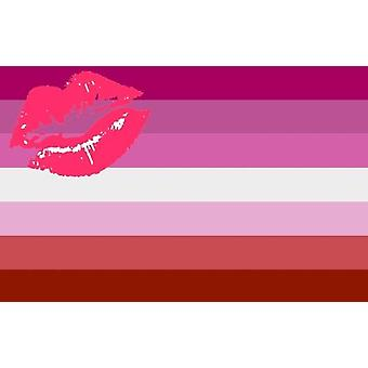 Lgbt Rainbow Homosexual Lipstick Kiss Pride Flag